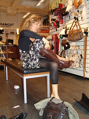 In search of new boots (osto) Tags: people woman shop shopping geotagged denmark europa europe boots sony cybershot zealand tina scandinavia danmark lyngby dscf828 sjlland  september2007 osto osto
