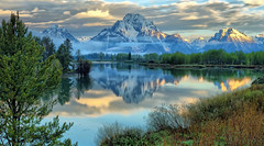 First Light at the Oxbow - June, 2010 (Jeff Clow) Tags: morning reflection landscape dawn bravo raw searchthebest snakeriver wyoming mountmoran tetons gar grandtetonnationalpark oxbowbend 5exp jacksonholewyoming flickrdiamond ©jeffrclow