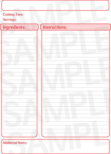 Free Red Recipe Template Page - Free Printables Online