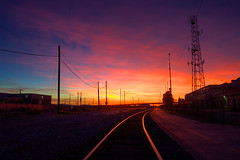 Glowing Rails (Mike Olbinski Photography) Tags: arizona sky urban phoenix clouds traintracks bridges sunsets powerlines sidewalks hdr antennas urbex greatphotographers