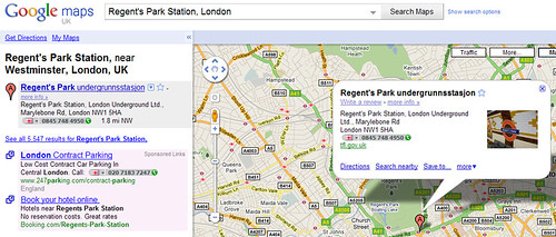 Regent's Park Station on Google Maps