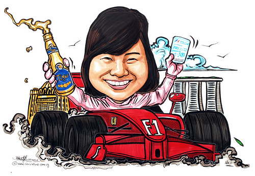 Formula One caricature with MBS and Tiger Beer