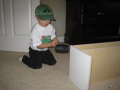 G'tums (age 4) pounding with a rubber mallet