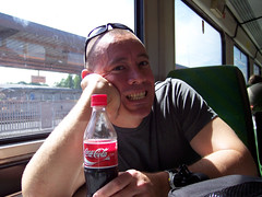 Greg on the train heading to the west coast