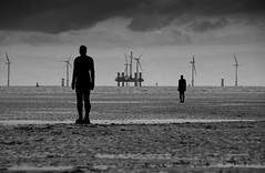 Array (Joe Dunckley) Tags: uk sea england bw monochrome construction statues beaches crosby antonygormley powerstations merseyside irishsea windturbines sefton anotherplace gapc a1f1 123s