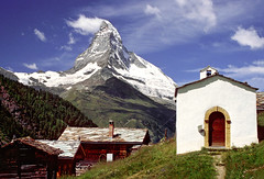 Matterhorn, Switzerland (h_roach) Tags: travel vacation alps classic church clouds landscape switzerland village hiking walk famous chapel nopeople hike explore matterhorn whitewash alpinevillage beautifulday worldtravel traveldestination diamondclassphotographer flickrdiamond theunforgettablepictures moujntain intelligenttravel