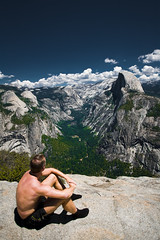 Life is simple (Luis Montemayor) Tags: yosemite usa california halfdome man hombre landscape paisaje clouds nubes sky cielo halfnaked semidesnudo naturewatcher supershot explore myfavs 50mm