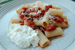 Rigatoni with Homemade Marinara and fresh Ricotta