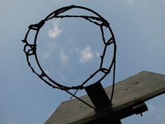 clouds in hoop (sweetbabyboy) Tags: blue sky net basketball clouds canon hoop goal powershot canonpowershots3is