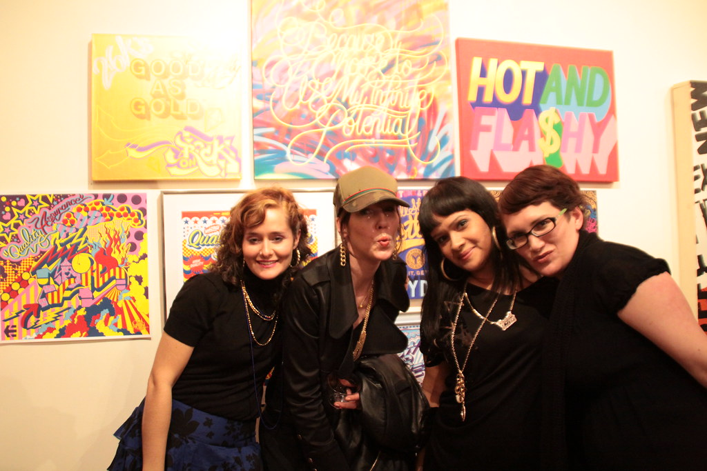 Queen Andrea and Melissa, the curators, with Indie and a girlfriend from NY