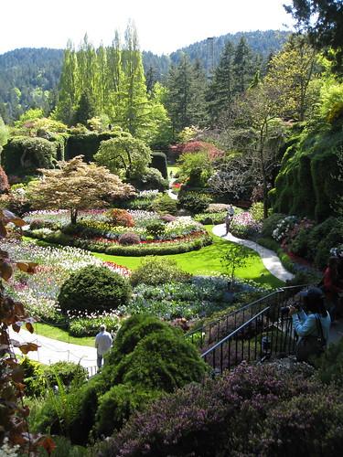 Sunken garden at Butchart Gardens in Victoria, BC