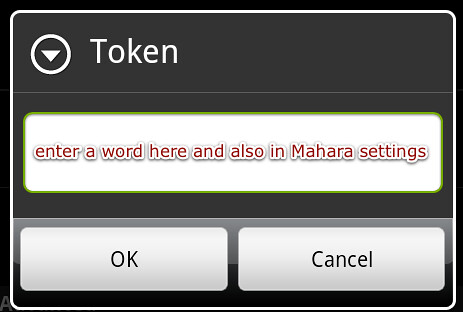 The token is the 2nd part of the authentication with Mahara