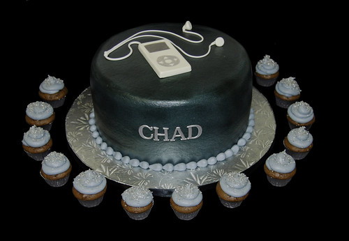 Black and silver bar mitzvah cake with mp3 player