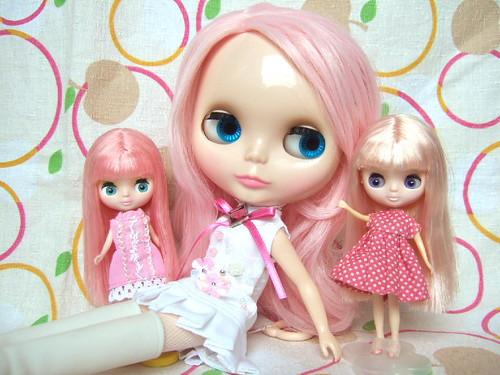 Primadolly Peach with pink hair Petit-blythe by kana*.