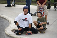 Father and son enjoy the skate park