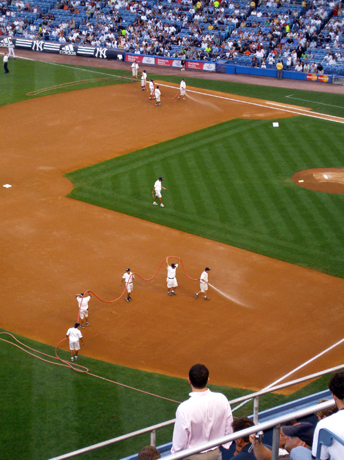 Yankee Stadium grounds crew in action