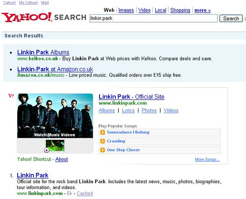 Yahoo! Music OneBox result for 'Linkin Park'