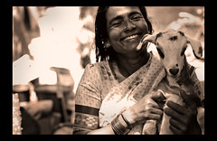 pride (ladyinpink) Tags: blackandwhite woman india smile streetphotography goat pride chennai coconutseller