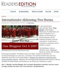 "Internationaler Aktionstag ""Free Burma"" auf Readers Edition"