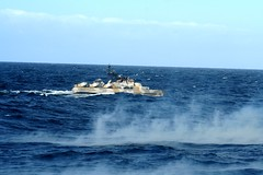 norwegian fast patrol boat during firing exercise (Infernal elf) Tags: blue sea ass water 30 penguin boat marine open hawk great north bad fast windy class wel