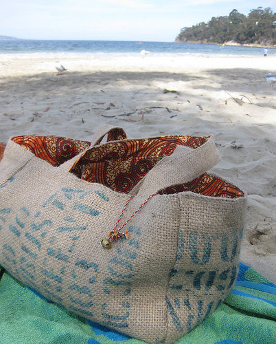 Fairtrade coffee sack and kenyan print bag