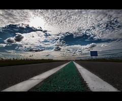 100km/h (Focusje (tammostrijker.photodeck.com)) Tags: road sky green lines clouds horizon low ground hdr 100km