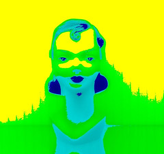 Kind Of Blue (Baky) Tags: woman color colour mannequin colors yellow japan colorful neon mannequins artistic fake pop wacky cartoonish iphone barky  baky barkyvision