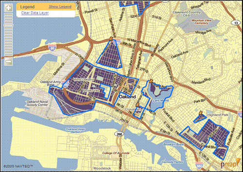 low-access neighborhoods in blue, Oakland CA (by: The Reinvestment Fund)