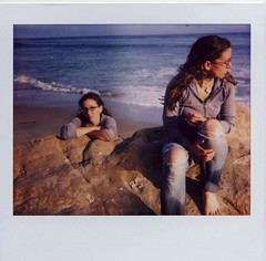 The Rock (~KIM~) Tags: selfportrait beach girl rock self de polaroid doubleexposure spectra wetjeansarenotcomfortable