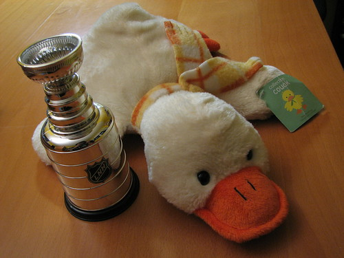 Ducksie posing with the Stanley Cup