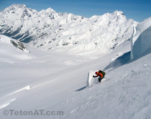 Andrew McLean skis the Upper Tasman Glacier with Mount Cook in the background