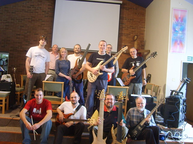 A gathering of bassists from an earlier event