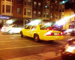 Taxi nightlife (bcbeatty) Tags: cameraphone chicago illinois cab taxi yellowcab samsung clark wrigleyville chicagoguessed tvlocation chicagoist chicagodowntown views200 perfectstrangers 12of12 12on12 tokyorose