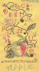 Apple Sampler (Dolci Fusa) Tags: flower apple yellow crossstitch seasonal bee charms sal sistersbestfriends lugana
