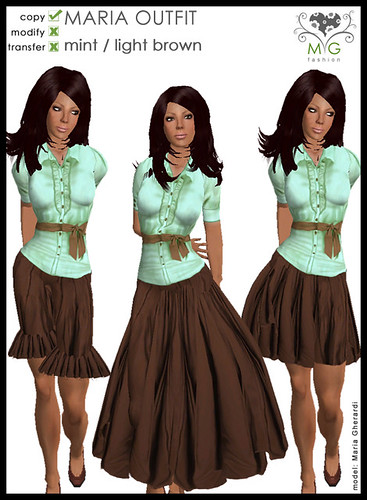 [MG fashion] MARIA OUTFIT - mint/lightbrown