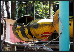Bumble Bee monorail - Santa's Village (Vintage Roadside) Tags: california santa abandoned amusementpark roadsideattraction lakearrowhead defunct santasvillage skyforest vintageroadside
