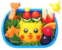 Pikachu bento 8-30-07 (pkoceres) Tags: japan bento lunch onigiri cheese nori strawberry muscadine grape carrot redbellpepper tomato apple minneola tangelo shrimp soy bottle lychee cucumber pokmon  pikachu   icookedthis fried nintendo pokemon     ebifry quailegg  tempura    charaben