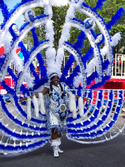 Lovely Lady In Blue And White Feathers () Tags: nyc newyorkcity carnival blue red cooking brooklyn dance costume icons dancer parade september event masks jamaica trinidad caribbean annual float bahamas westindianparade thebiggestgroup 10millionphotos kodakz712 kodakz712is