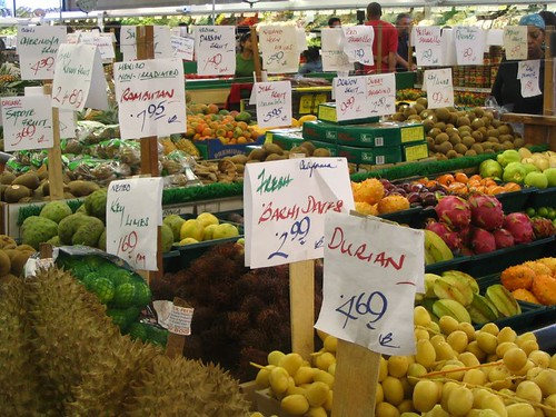 berkeley bowl carries dates, durian, key limes, rambitan, and other fresh produce.