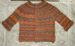 Feb Baby Sweater, Orange/Teal