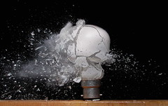 Exploding bulb (Mark Watson (kalimistuk)) Tags: broken glass make bulb lumix shot flash fast panasonic smashed explode highspeed strobe fz50 froze 22cal diamondclassphotographer flickrdiamond shattard