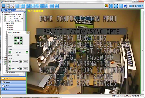 exacqVision 4.1 Feature - PTZ Menu control 2