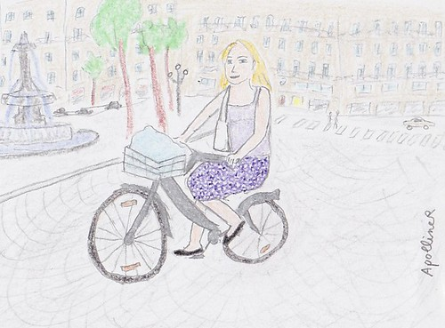 drawing of a young woman on a Vélib in Paris