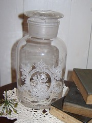 Etched Victorian Apothecary Jar029 (sixpenceandabluemoon) Tags: etched victorian clear medical glassjar candyjar apothocaryjar