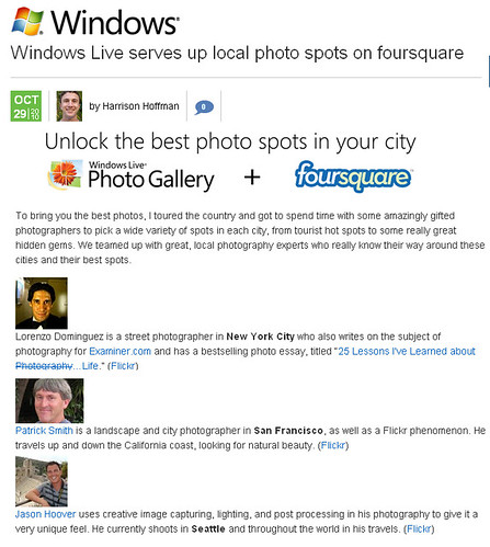 Microsoft Launches Foursquare Photography App!