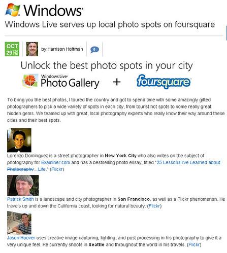 Microsoft Launches Foursquare Photography App!