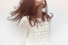 091110 (Laura Gommans) Tags: light portrait white selfportrait girl hair ruffles movement blouse brunette lauragommans