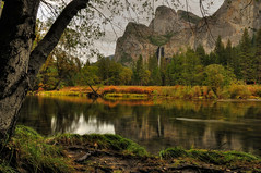 Cathedral Spires, Bridalveil Fall (Marc Briggs) Tags: california storm clouds river waterfall stream view sierra yosemite vista sierranevada cathedralrock yosemitevalley bridalveilfall cathedralspires dsc009678tmd