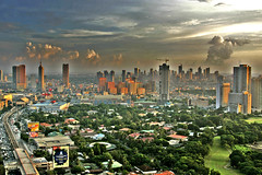 View of Makati From Ortigas (Msbernal) Tags: blue sunset sky orange green topf25 clouds buildings golf highway traffic philippines rail manila mostinteresting billboards makati mrt galleria robinsons edsa ortigas cotcmostfavorited metrorailtransit mywinners philippineislescom wackwackgolf