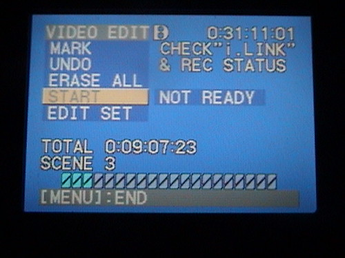 """Firewire Fail"" Video Edit screen of Sony DCR-TRV350"
